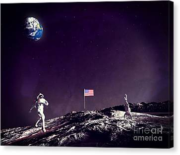 Canvas Print featuring the digital art Fun On The Moon by Methune Hively