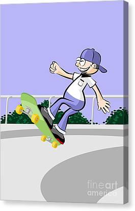 Skates Canvas Print - Fun On The Skating Rink Jumping On Skateboard by Daniel Ghioldi