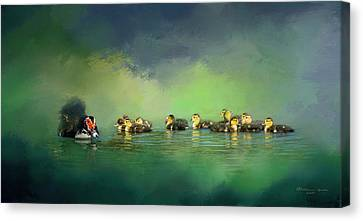 Waterfowl Canvas Print - Fun On The Water by Marvin Spates