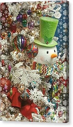 Fun Snowman Holiday Greeting Canvas Print