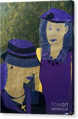 Pity Canvas Print - Funeral Masks by Debra Bretton Robinson