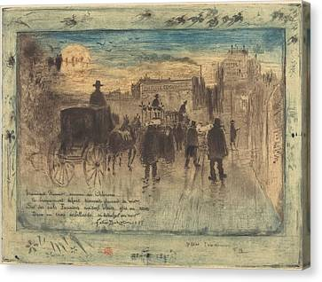 Funeral Procession On The Boulevard De Clichy Canvas Print by Mountain Dreams
