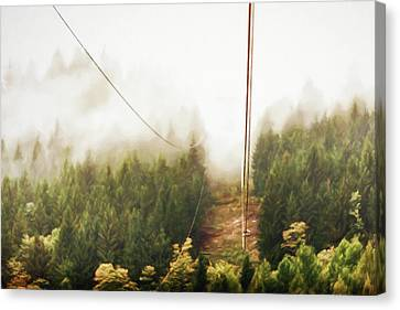 Funicolare View Of Foggy Forest In Alps Canvas Print by Susan Schmitz