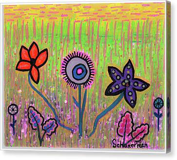 Silver-filled Canvas Print - Funky Flowers In A Field Of Green by Susan Schanerman
