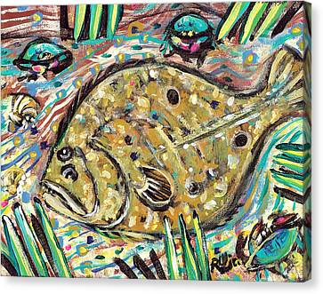 Funky Folk Flounder Canvas Print by Robert Wolverton Jr