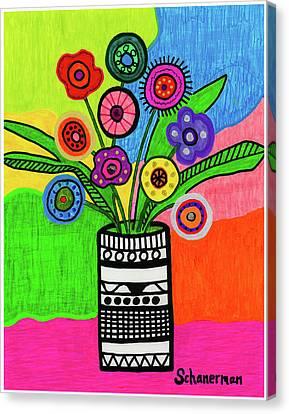 Funky Folk Flowers Canvas Print