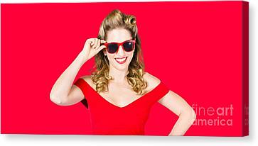 Funky Hip Pin-up Blonde In Summer Sunglasses Canvas Print by Jorgo Photography - Wall Art Gallery