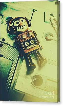 Cassettes Canvas Print - Funky Mixtape Robot by Jorgo Photography - Wall Art Gallery