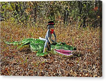 Canvas Print featuring the photograph Funky Monkey - Reptile Rider by Al Powell Photography USA