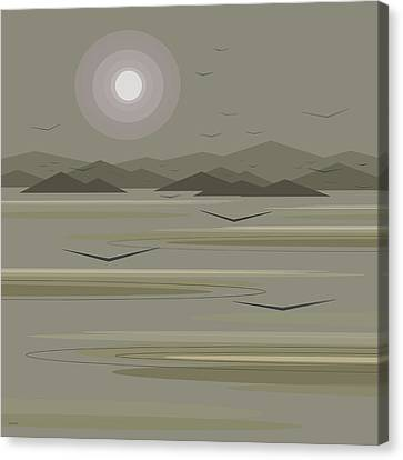 Canvas Print featuring the digital art Funky Moon Birds by Val Arie