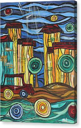 Canvas Print featuring the painting Funky Town by Sladjana Lazarevic