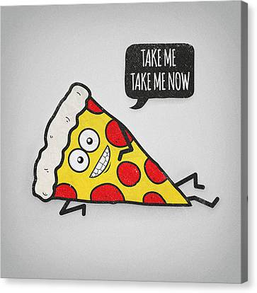 Funny And Cute Delicious Pizza Slice Wants Only You Canvas Print by Philipp Rietz