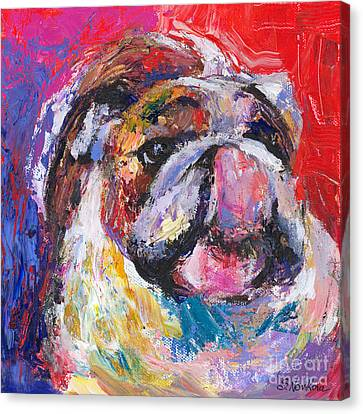 Funny Bulldog Licking His Hose Painting Canvas Print