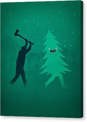 Funny Cartoon Christmas Tree Is Chased By Lumberjack Run Forrest Run Canvas Print