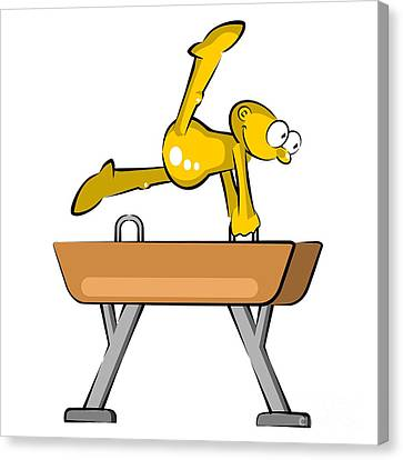 Decoration Canvas Print - Funny Cartoon Doing His Workout Routine On The Pommel Horse by Daniel Ghioldi
