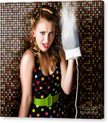 Funny Cute Cleaning Woman Ironing Retro Fashion Canvas Print by Jorgo Photography - Wall Art Gallery