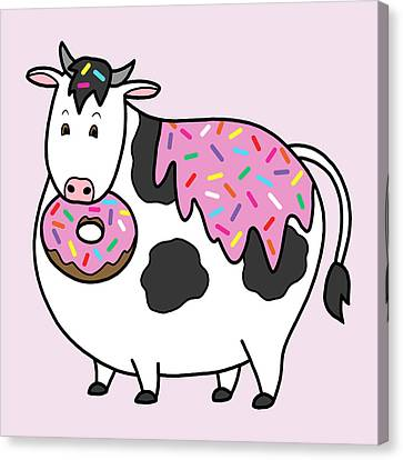 Donuts Canvas Print - Funny Fat Holstein Cow Sprinkle Doughnut by Crista Forest