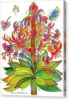 Funny Flowers On Green Plant Canvas Print by Julie Richman