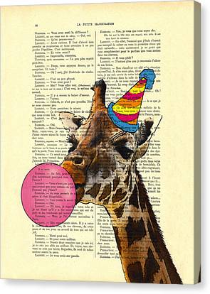 Funny Giraffe, Dictionary Art Canvas Print by Madame Memento