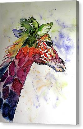 Canvas Print featuring the painting Funny Giraffe by Kovacs Anna Brigitta