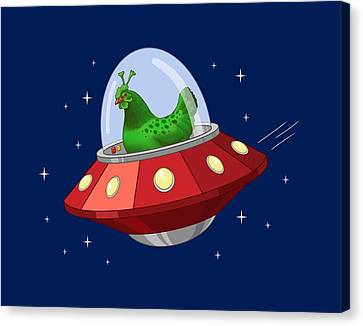 Cartoon Alien Canvas Print - Funny Green Alien Martian Chicken In Flying Saucer by Crista Forest