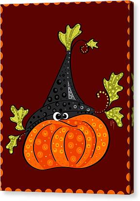 Canvas Print featuring the painting Funny Halloween by Veronica Minozzi