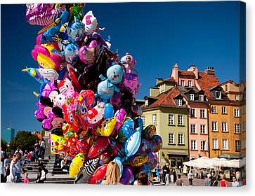 Funny Helium Balloons Stick Up Canvas Print by Arletta Cwalina