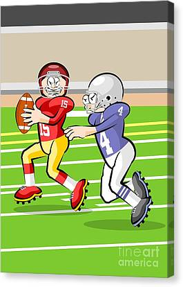 Male Canvas Print - Funny Illustration About American Football In Cartoon Style by Daniel Ghioldi