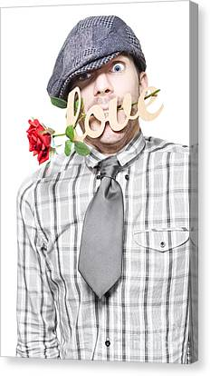 Funny Man Saying Sorry With Love And A Red Rose Canvas Print by Jorgo Photography - Wall Art Gallery