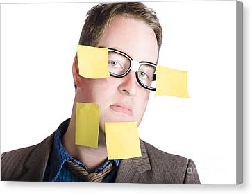 Sticky Note Canvas Print - Funny Man With Yellow Sticky Notes On Face by Jorgo Photography - Wall Art Gallery