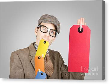 Funny Marketing And Sales Businessman Canvas Print