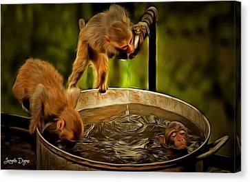Tap Canvas Print - Funny Monkeys - Da by Leonardo Digenio