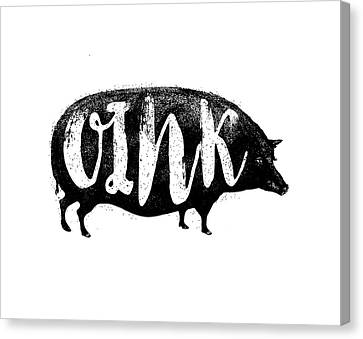 Funny Oink Pig Canvas Print by Antique Images