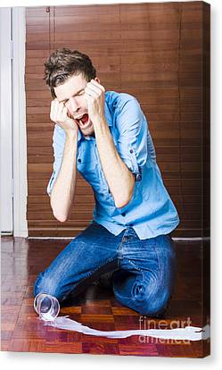 Funny Over The Top Man Crying Over Split Milk Canvas Print by Jorgo Photography - Wall Art Gallery