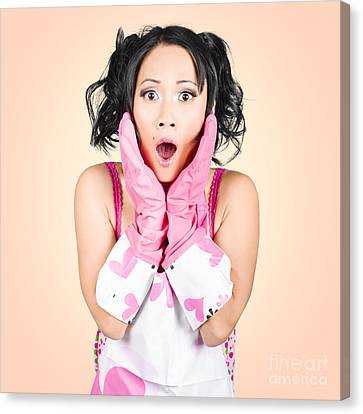 Funny Portrait Of Stressed Young Housewife Canvas Print by Jorgo Photography - Wall Art Gallery