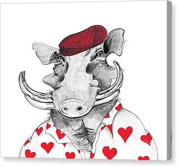 Funny Warthog Pig In Love Canvas Print by Apostrophe Art