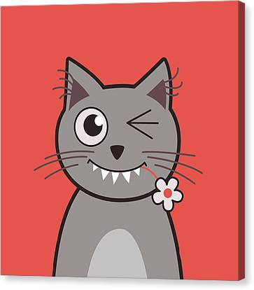 Funny Winking Cartoon Kitty Cat Canvas Print