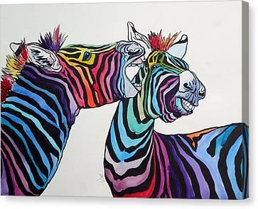 Funny Zebras Canvas Print