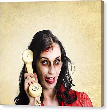 Funny Zombie Employee With Dead Phone Line Canvas Print by Jorgo Photography - Wall Art Gallery