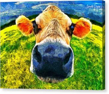 Bovine Canvas Print - Funnycow - Da by Leonardo Digenio