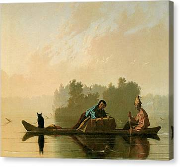 Fur Traders Descending The Missouri Canvas Print by George Caleb Bingham