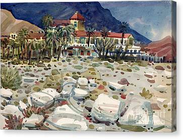 Furnace Creek Inn In Death Valley Canvas Print by Donald Maier