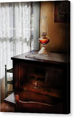 Furniture - Lamp - I Used To Write Letters  Canvas Print by Mike Savad