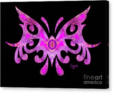 Fuschia Tribal Butterfly Abstract Macro Transformations By Omash Canvas Print by Omaste Witkowski