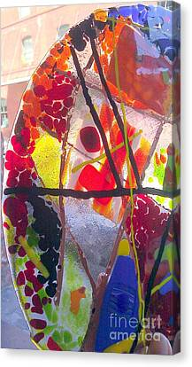 Fused Glass Hand Made Lamp Shades Canvas Print by Laura Miller