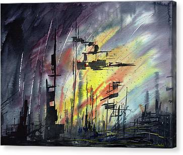 Futuristic Cityscape Canvas Print by Sean Seal