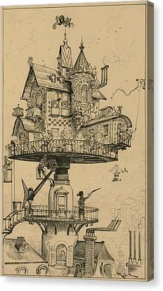 Futuristic Drawing By Albert Robida Canvas Print