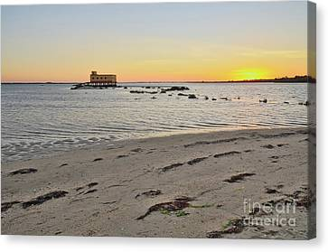 Fuzeta Beach Sunset Scenery And Landmark. Portugal Canvas Print by Angelo DeVal