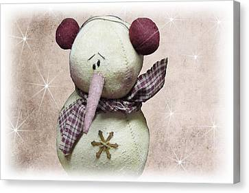 Fuzzy The Snowman Canvas Print by David Dehner