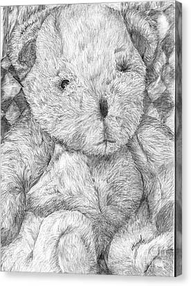 Canvas Print featuring the drawing Fuzzy Wuzzy Bear  by Vicki  Housel